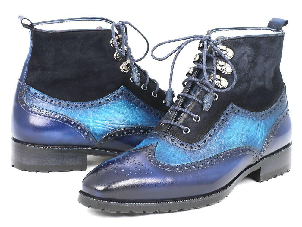 Wingtip Paul Parkman Boots Blue Suede & Leather