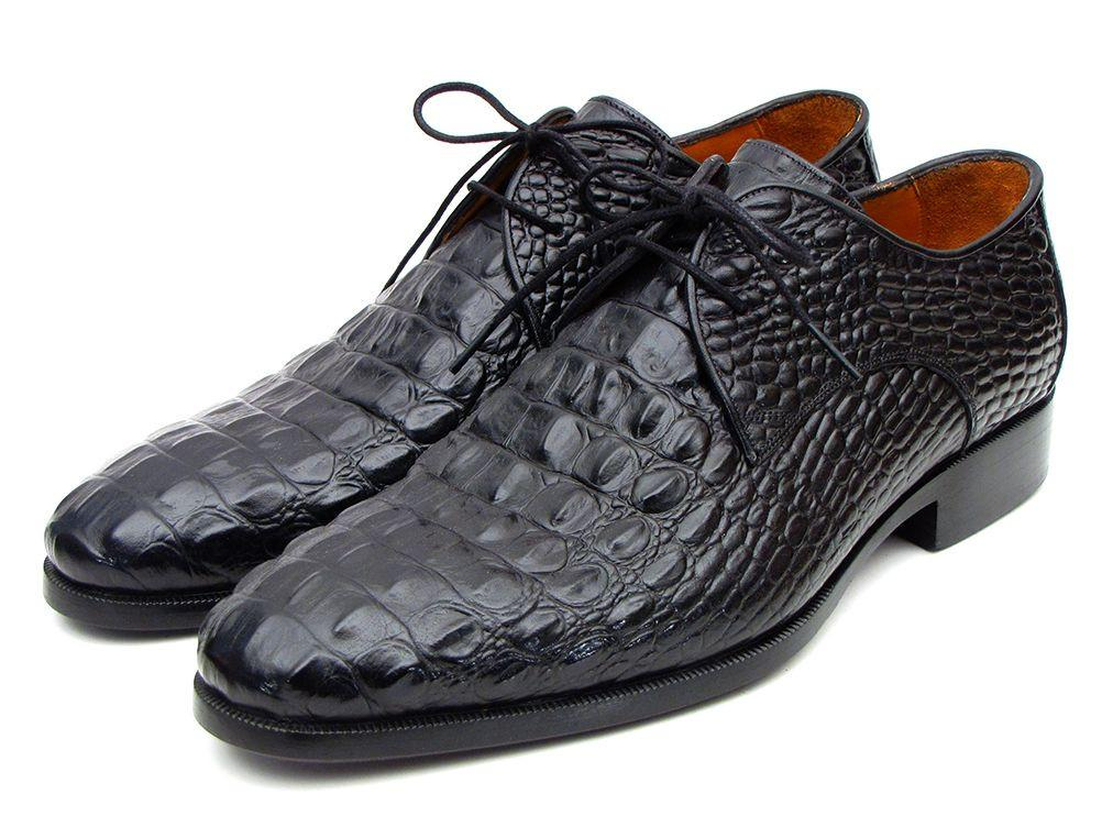 Men's Black Crocodile Embossed Calfskin Paul Parkman Derby Shoes