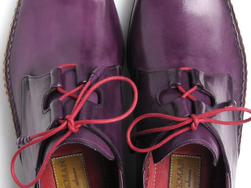 Ghillie Lacing Side Handsewn Dress Paul Parkman Shoes - Purple Leather Upper and Leather Sole