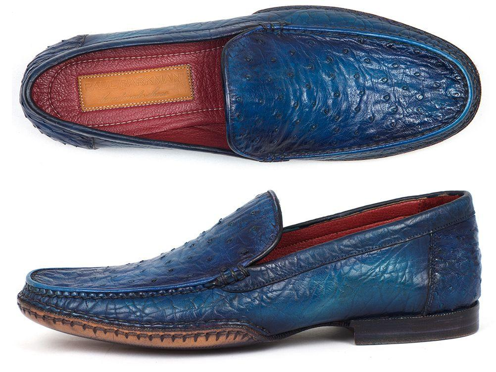 Men's Blue Genuine Ostrich Opanka Stitched Moccasins Paul Parkman