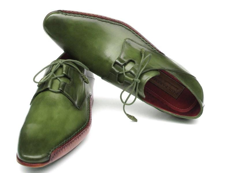 Ghillie Lacing Side Handsewn Dress Paul Parkman Shoes - Green Leather Upper and Leather Sole