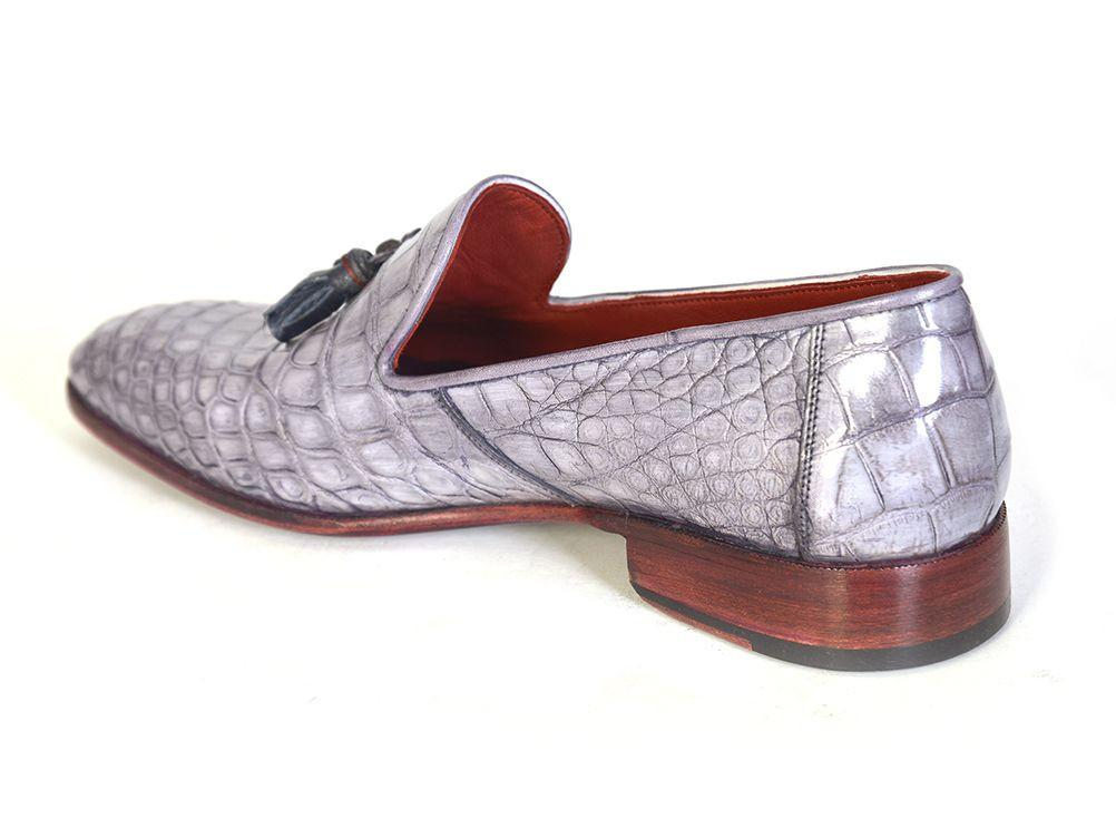 Men's Grey Genuine Crocodile Paul Parkman Tassel Loafers