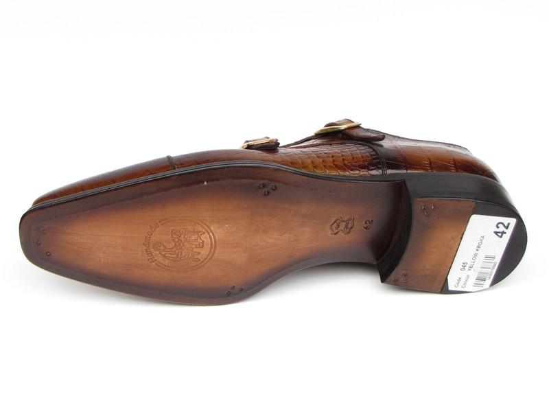 Brown Crocodile Embossed Calfskin Paul Parkman Double Monkstrap