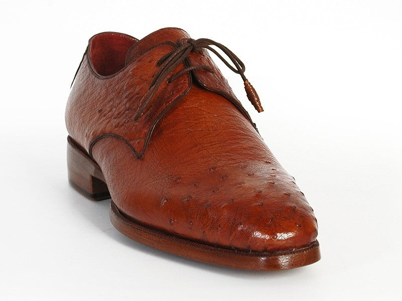 Tobacco Paul Parkman Ostrich Derby Shoes