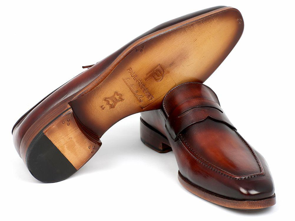 Men's Penny Loafer Bordeaux and Brown Calfskin Paul Parkman