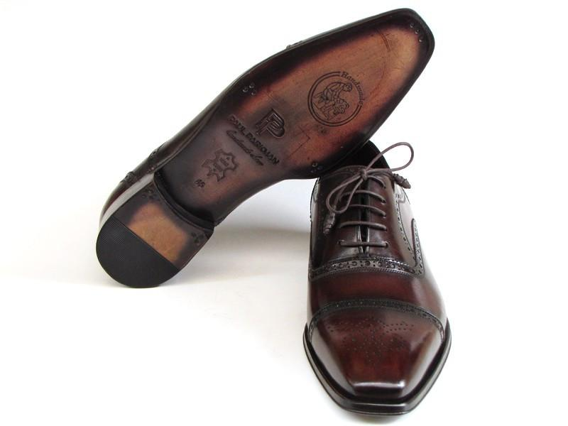 Captoe Paul Parkman Oxfords Bordeaux & Brown Hand-Painted