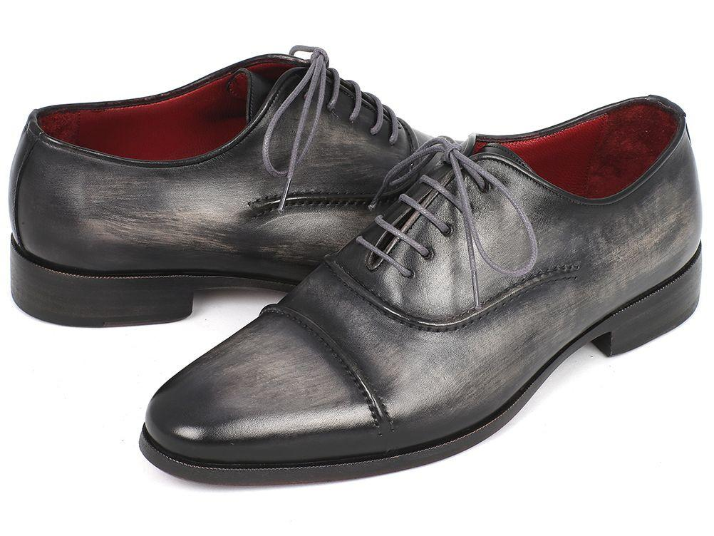 Captoe Paul Parkman Oxfords Gray & Black Hand Painted Shoes