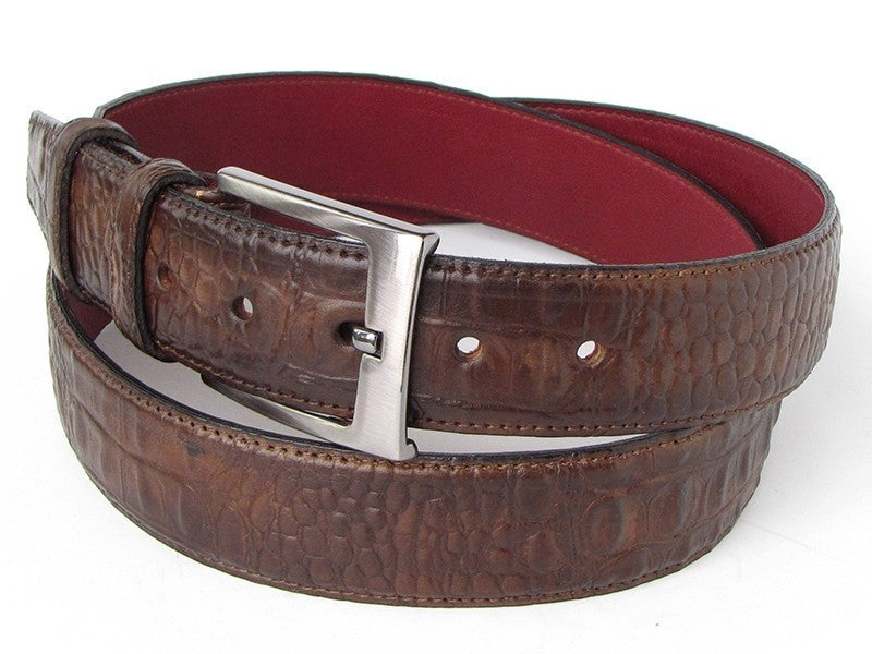 Brown Paul Parkman Crocodile Belt
