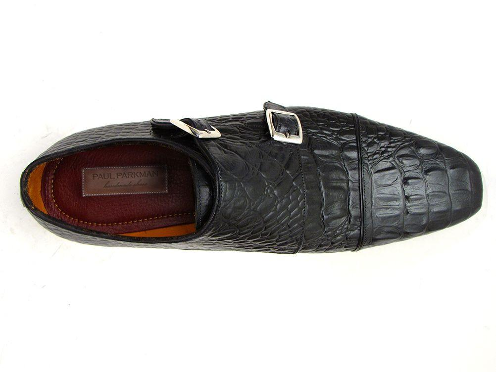 Double Monkstraps Paul Parkman Black Crocodile Embossed Calfskin