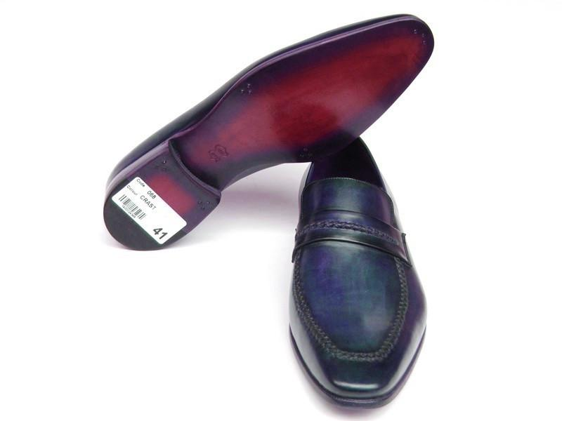 Men's Loafer Shoes Navy Leather Upper and Leather Sole Paul Parkman