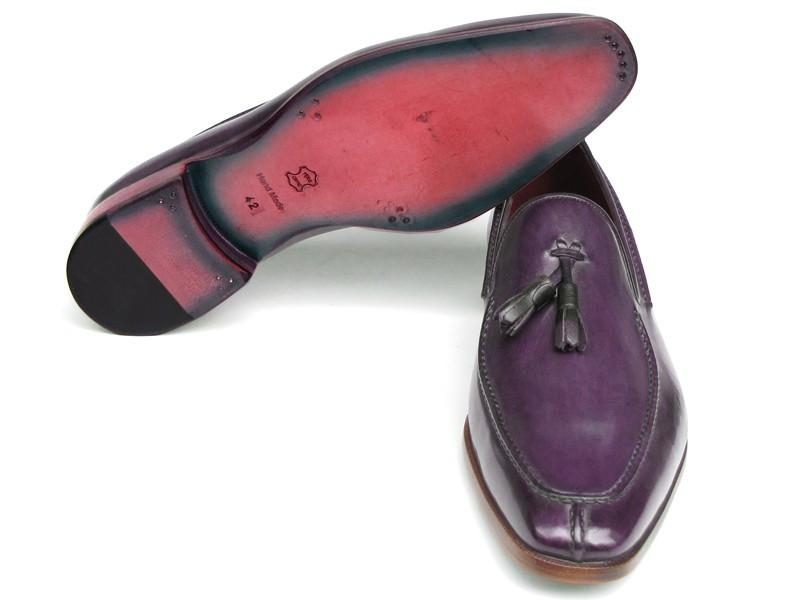 Men's Tassel Loafer Purple Hand Painted Leather Paul Parkman