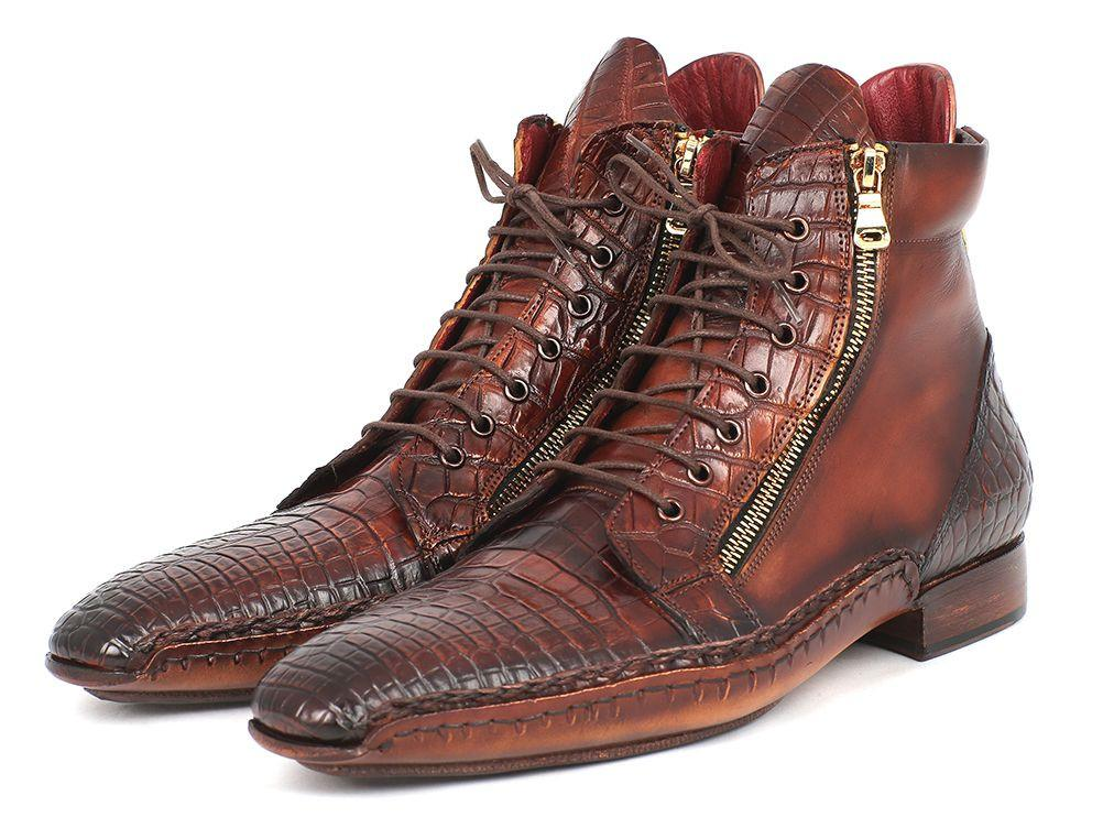 Genuine Crocodile & Calfskin Handmade Paul Parkman Zipper Boots