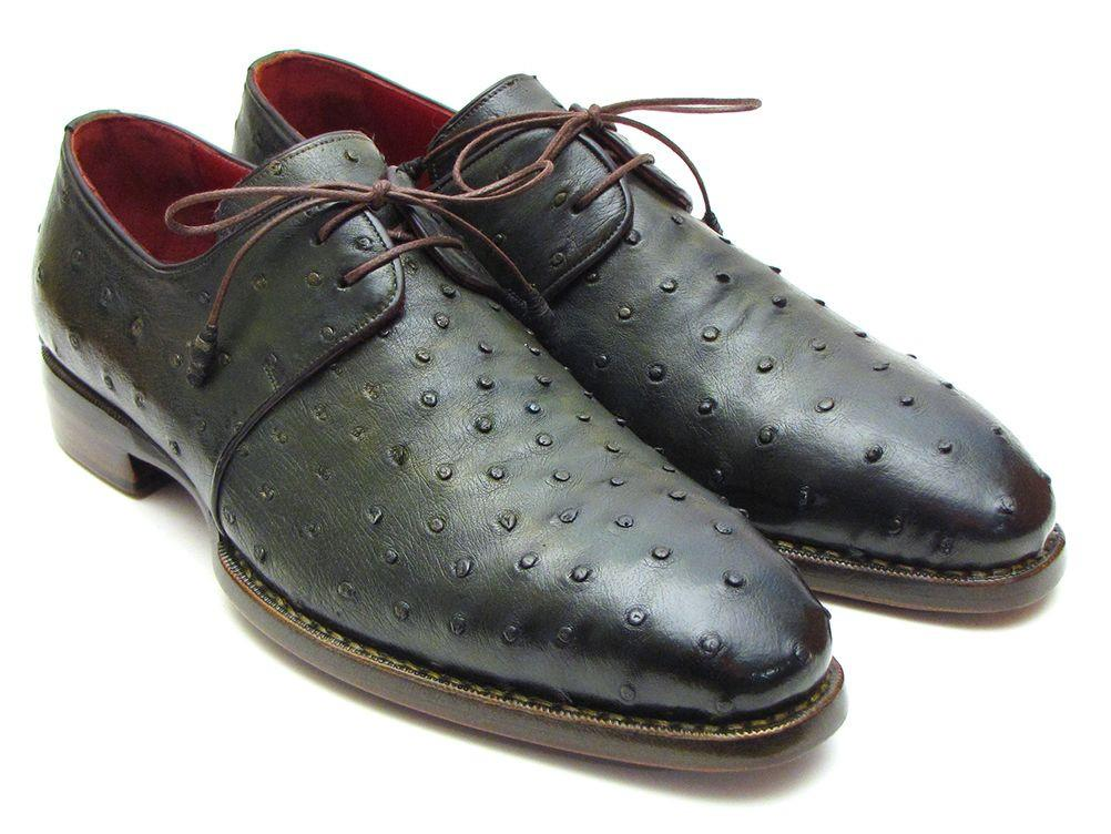 Goodyear Welted Green Genuine Ostrich Paul Parkman Derby Shoes