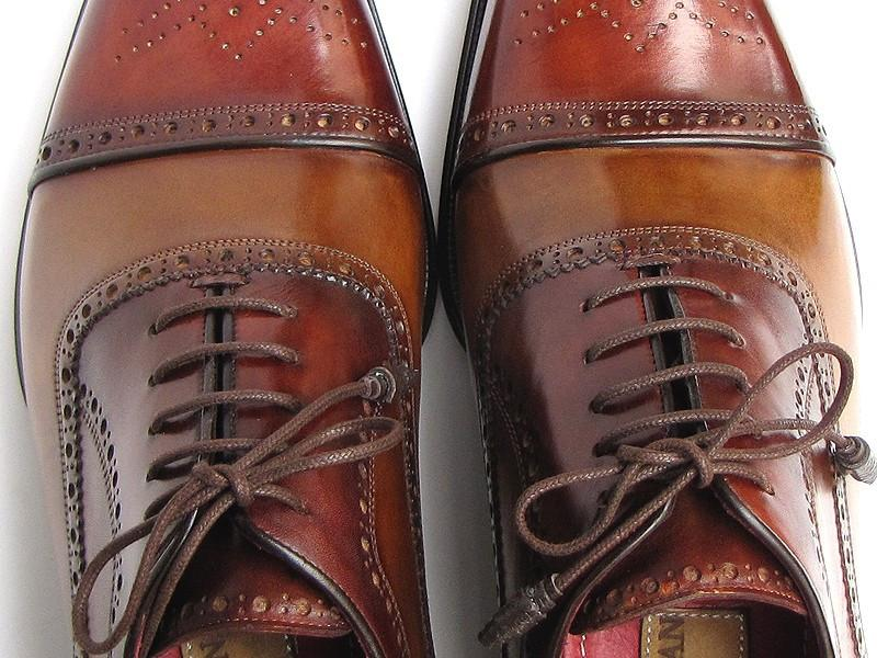 Captoe Paul Parkman Oxfords - Camel / Red Hand-Painted Leather Upper and Leather Sole