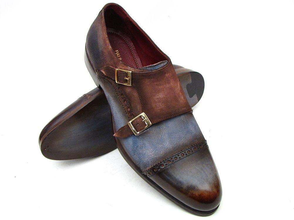 Captoe Paul Parkman Double Monkstrap Antique Blue & Brown Suede