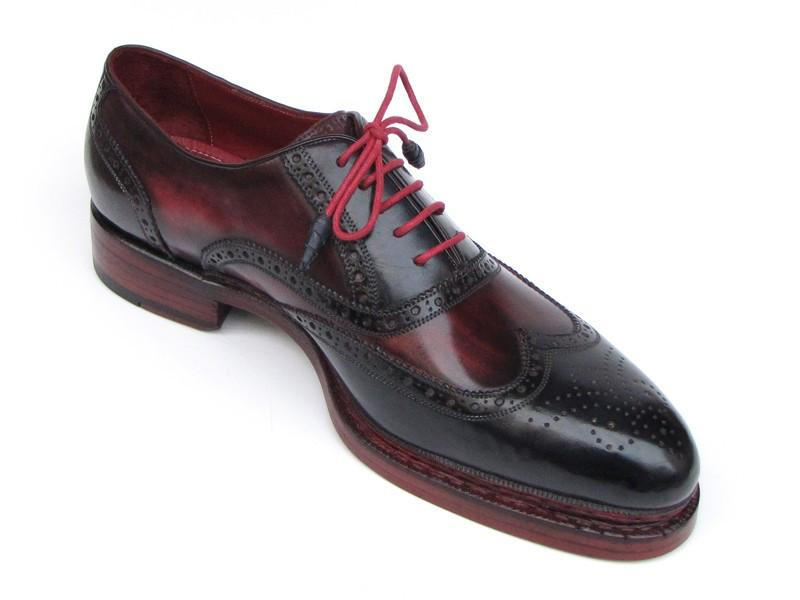 Triple Leather Sole Wingtip Brogues Navy & Red