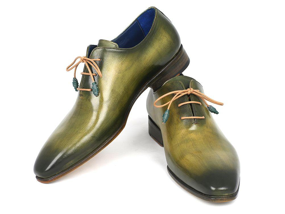 Plain Toe Wholecut Paul Parkman Oxfords Green Hanpainted Leather