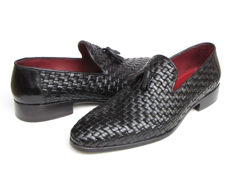 Paul Parkman Men's Tassel Loafer Black Woven Leather