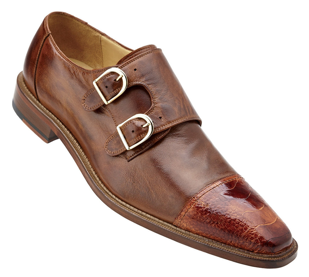 Amico Brandy Ostrich and Italian Calf Belvedere Shoes