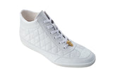 Alessio White Crocodile & Calf Belvedere Sneakers