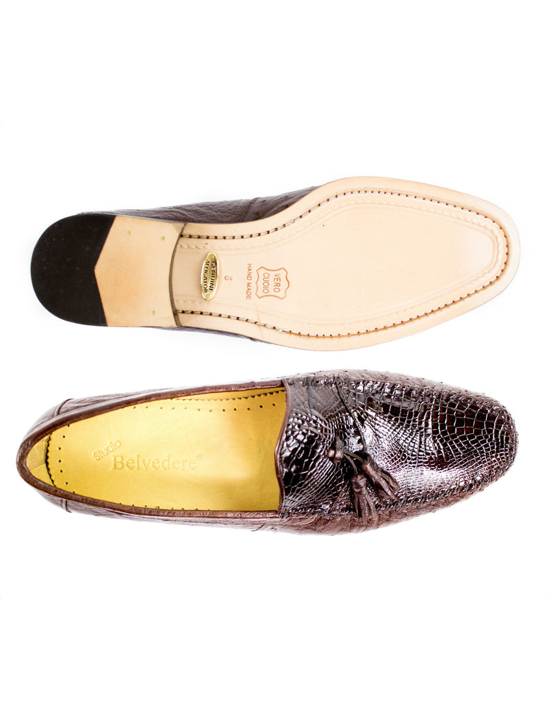 Bari Brown Caiman & Ostrich Belvedere Loafers