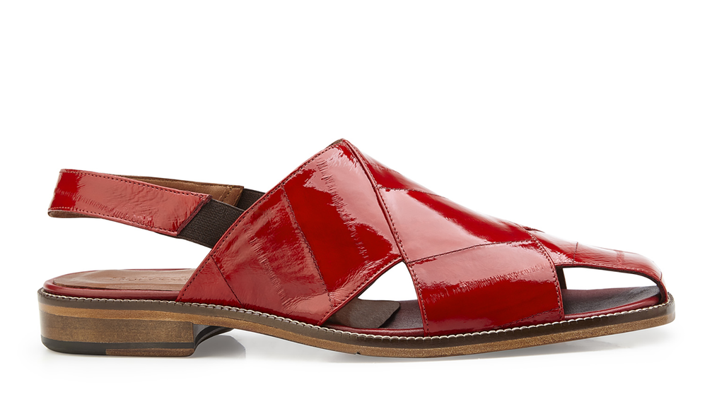 Monza Red Eel Belvedere Sandals