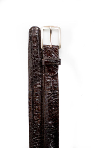 Belvedere Gray Crocodile Leather Belt