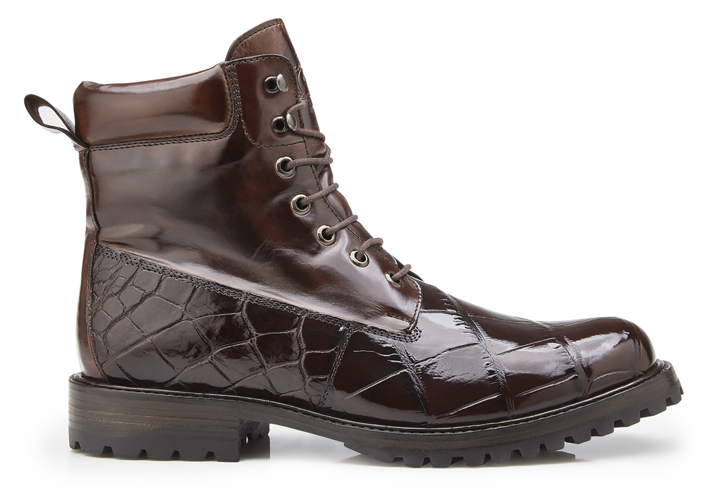Logan Chocolate Alligator & Italian Calf Belvedere Boots