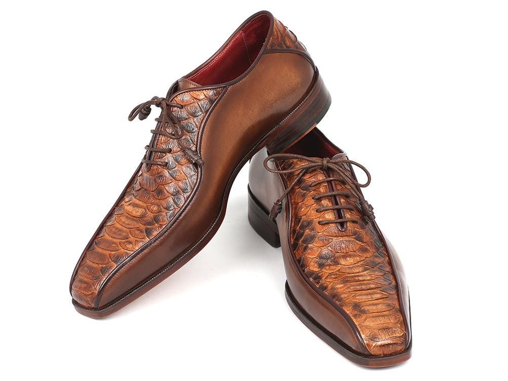 Brown Genuine Python & Calfskin Bicycle Toe Paul Parkman Oxfords