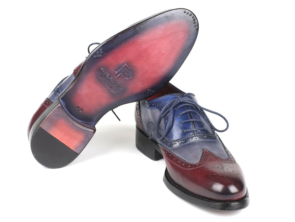 Paul Parkman Wingtip Oxfords Goodyear Welted Bordeuax Grey Blue