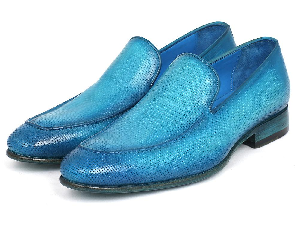 Perforated Leather Paul Parkman Loafers Turquoise