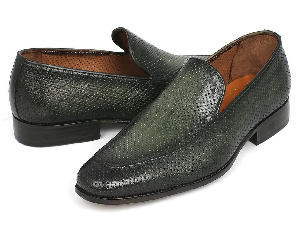 Perforated Leather Paul Parkman Loafers Green