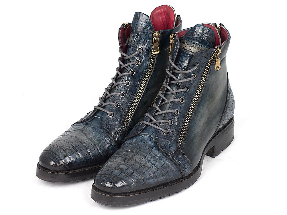 Navy Genuine Crocodile & Calfskin Side Zipper Paul Parkman Boots