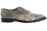 Onesto Gray Ostrich & Crocodile Belvedere Shoes