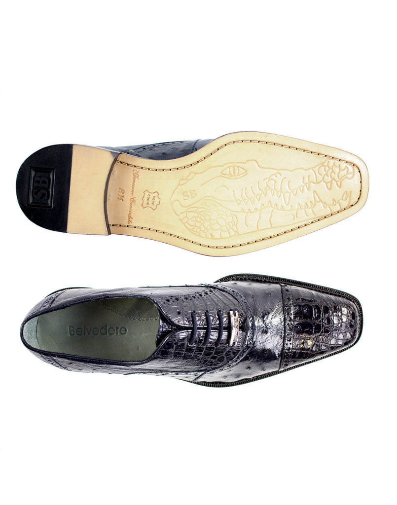 Onesto Navy Ostrich & Crocodile Belvedere Shoes