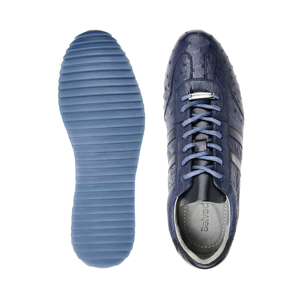 Parker Navy Ostrich Belvedere Sneakers