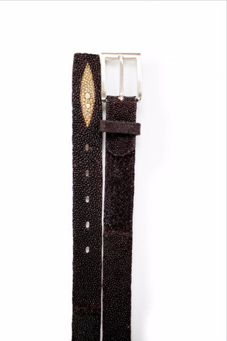 Belvedere Brown Ostrich Quill Leather Belt