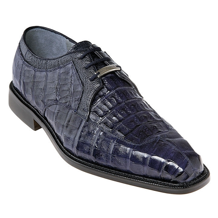 Susa Navy Crocodile & Ostrich Belvedere Shoes