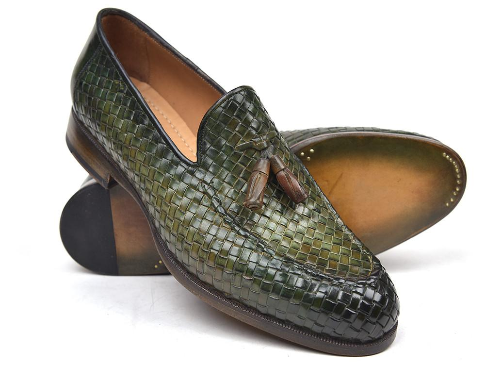 Woven Leather Paul Parkman Tassel Loafers Green