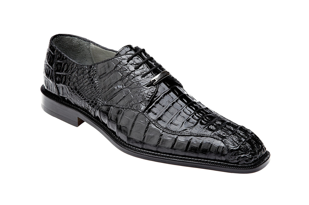 Chapo Black Genuine Caiman Belvedere Shoes