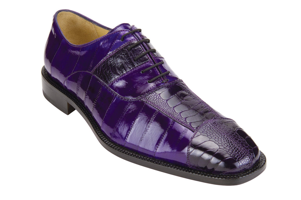 Mare Purple Ostrich & Eel Belvedere Oxford Shoes