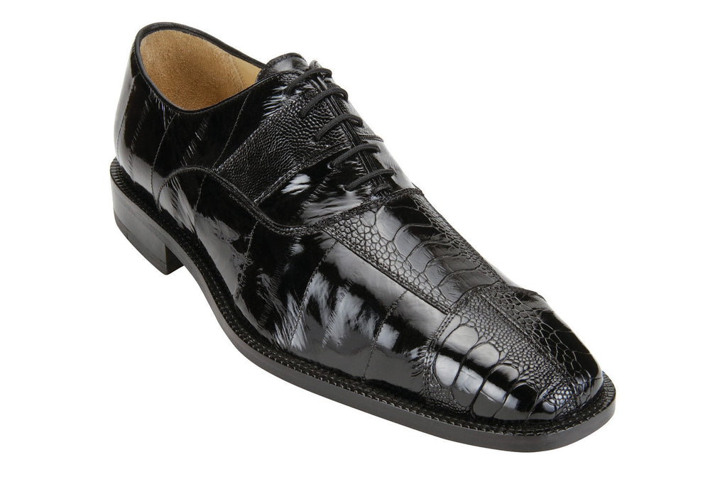 Mare Black Ostrich & Eel Belvedere Oxford Shoes
