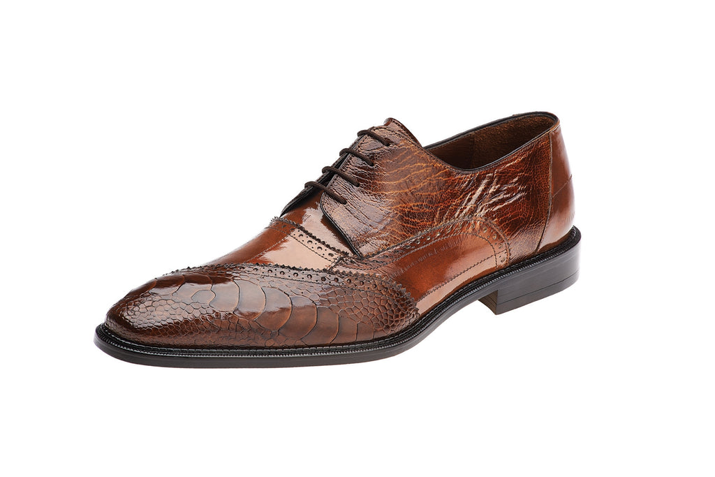 Nino Camel Ostrich & Eel Oxford Belvedere Dress Shoes