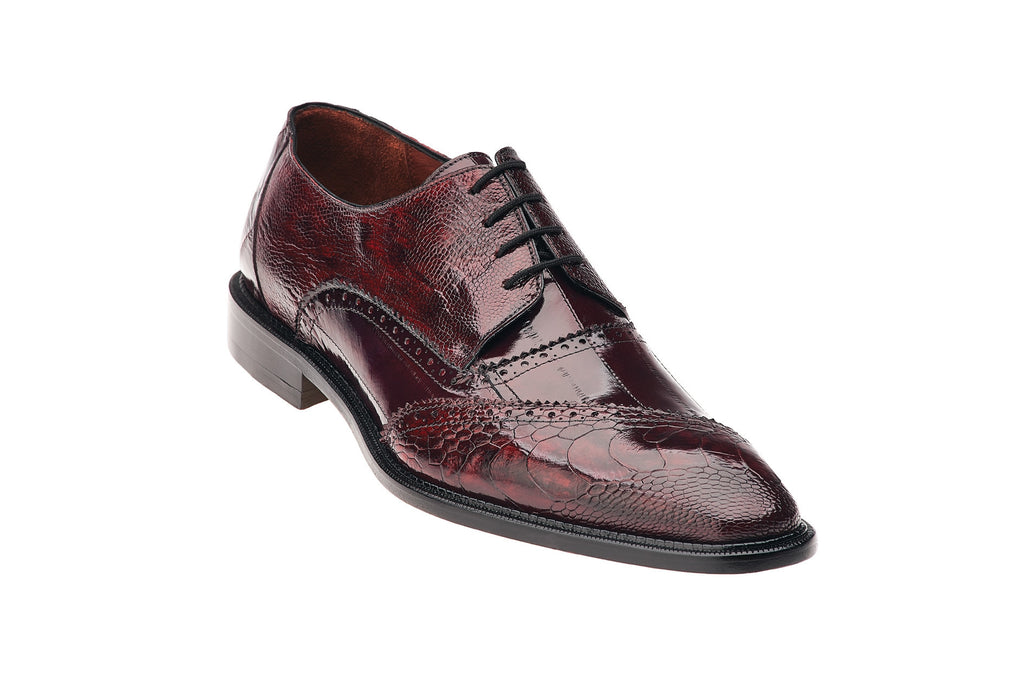 Nino Red Ostrich & Eel Oxford Belvedere Dress Shoes