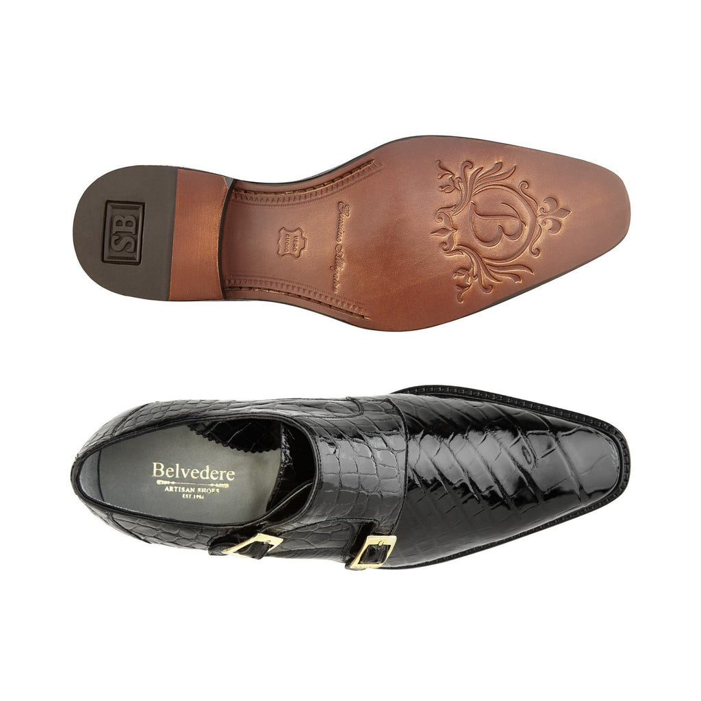 Oscar Black Alligator Belvedere Shoes