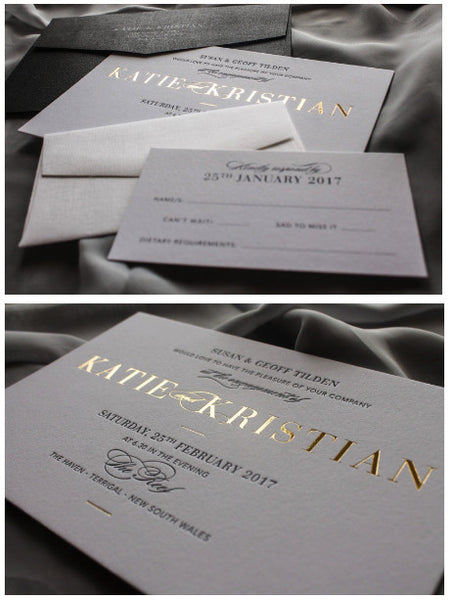Black white and gold wedding stationery