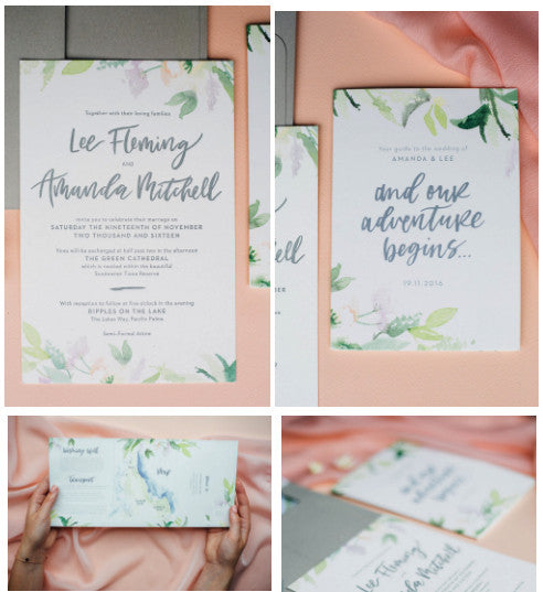 Peach coloured watercolour wedding stationery