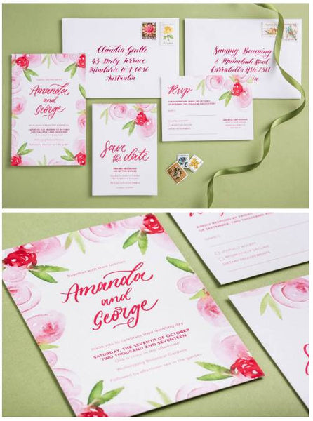 Pink and Green watercolour wedding stationery