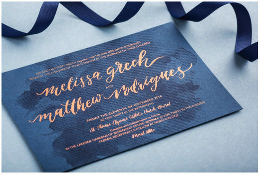 Navy and gold foil wedding stationery