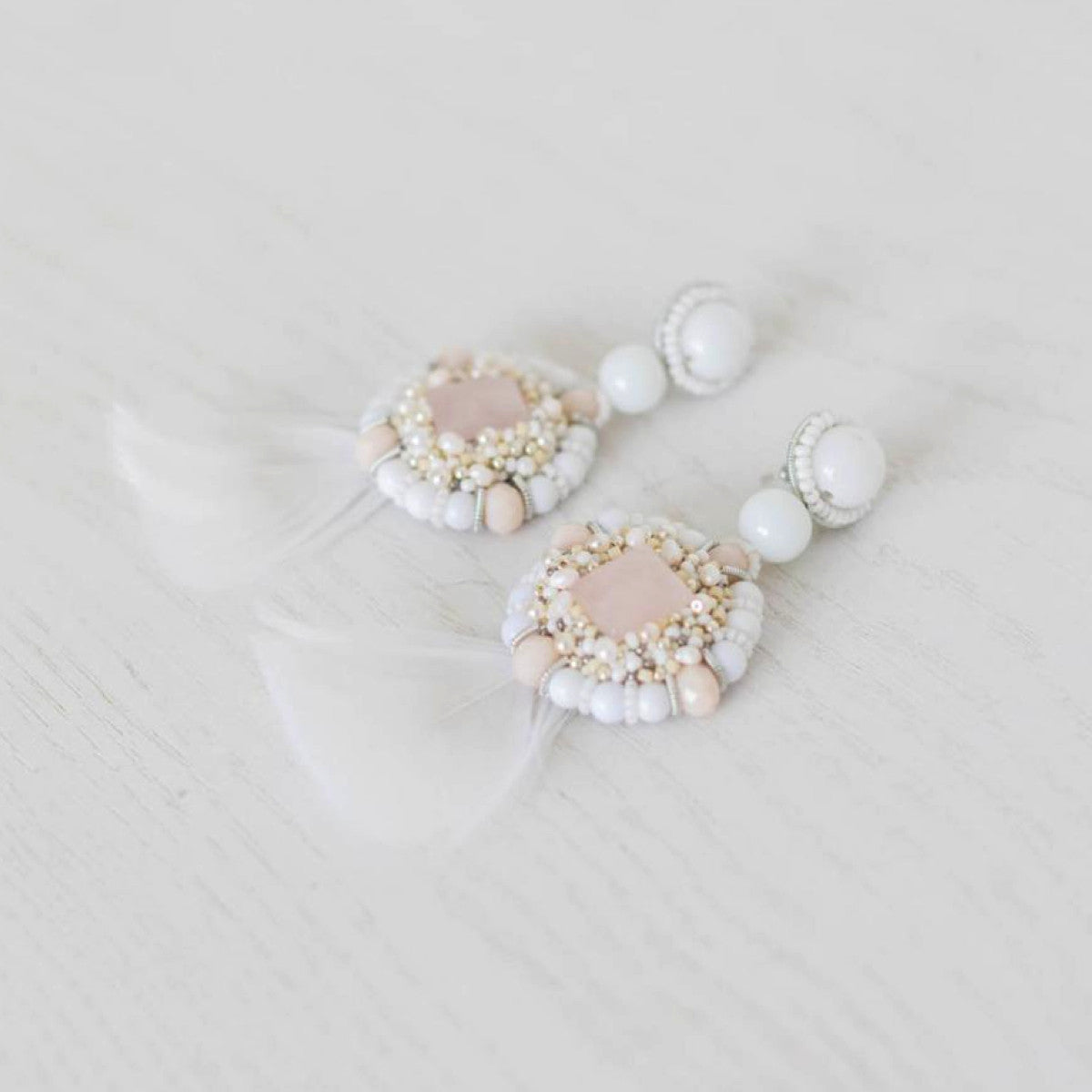 Estella Rose Quartz Earrings - Elle + Adhira